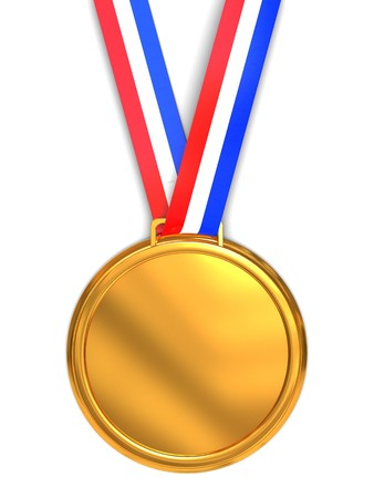 green and gold: 3d illustration of golden medal over white background
