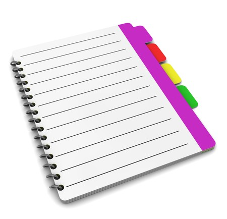 tabbed folder: 3d illustration of organizer notepad or address book over white background