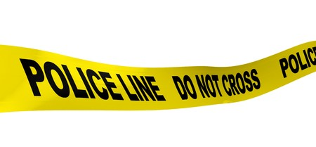 tape line: 3d illustration of yellow ribbon with text police line on it