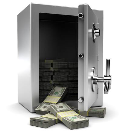 safe: 3d illustration of steel safe with money, over white background