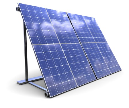 glass panel: 3d illustration of solar panel over white background Stock Photo