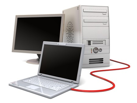 3d illustration of laptop computer connected to desktop computer, over white background Stock Illustration - 7334131