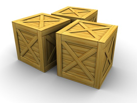 3d illustration of three wooden crates over white background Stock Illustration - 7334155