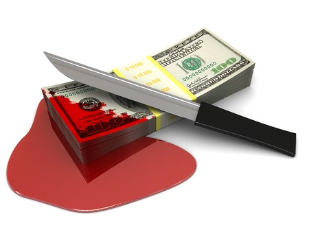 3d illustration of money stack with blood and knife, over white background illustration