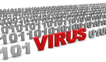 abstract 3d illustration of virus in binary code, over white background Stock Illustration - 7334149