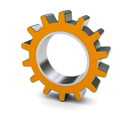 chrome wheels: 3d illustration of single gear wheel over white background Stock Photo