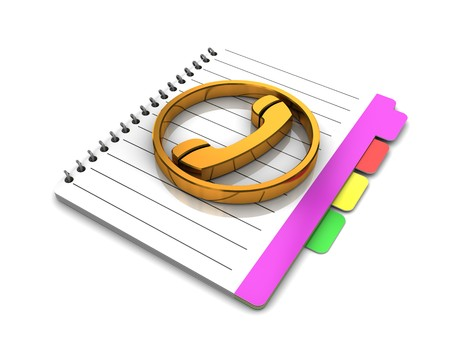 tabbed folder: 3d illustration of address or phone book over white background