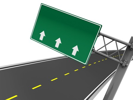 3d illustration of blank road sign with arrows, and asphalt road illustration