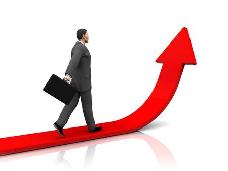 3d illustrationof businessman step forward and upward arrow illustration