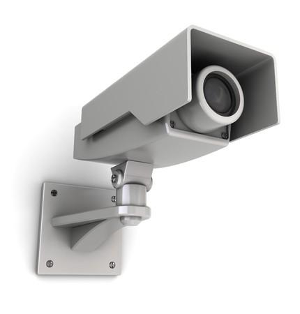 paranoia: 3d illustration of security camera mountet on white wall Stock Photo