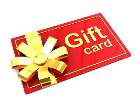 geschenkgutschein: 3D Abbildung Kunststoff Geschenkkarte �ber white background