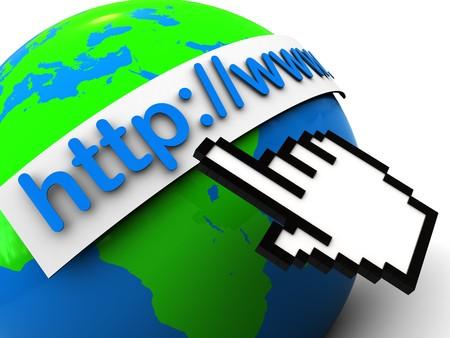 3d illustration of earth globe with internet address, over white background illustration