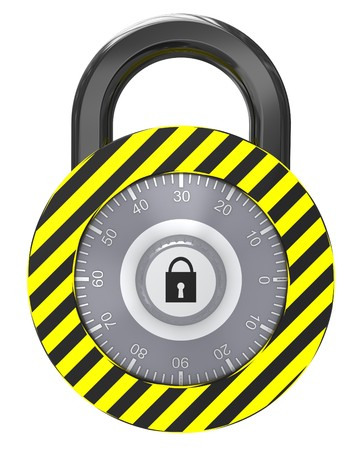 3d illustration of combination lock isolated over white background Stock Illustration - 7408295