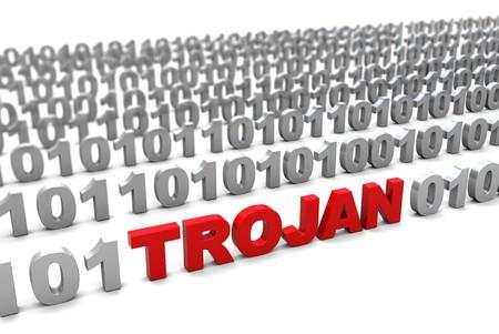 3d illustration of trojan in binary code symbol Stock Illustration - 7408305