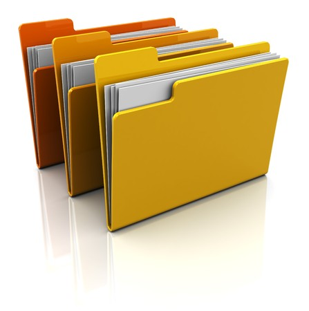 3d illustration of three folders with paper, over white background illustration