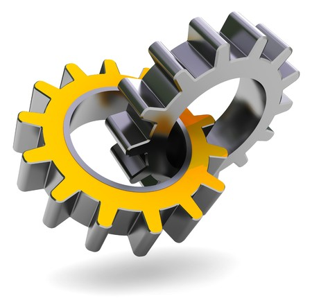 machine part: 3d illustration of two gear wheels over white background