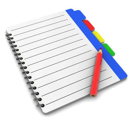 tabbed binder: 3d illustration of business notepad with pencil, over white background