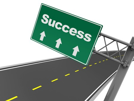 education success: abstract 3d illustration of road sign with success label