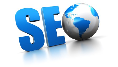 optimize: 3d illustration of seo text with earth globe, search engine optimization concept