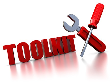 3d illustration of text 'toolkit' with wrench and screwdriver Stock Illustration - 7408307