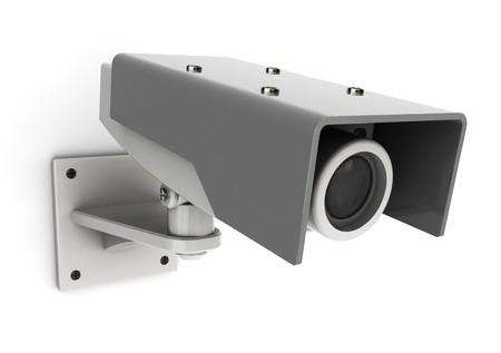 mounted: 3D-afbeelding van algemene veiligheids camera gemonteerd op de witte muur