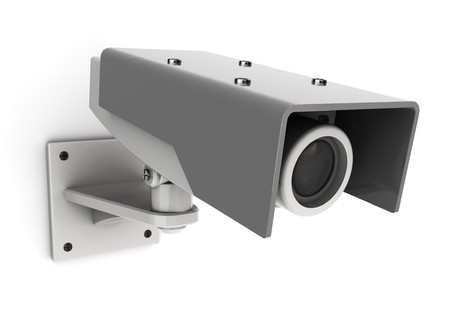 big brother: 3d illustration of generic security camera mounted on white wall
