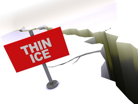 thin ice: 3d illustration of crack in ice with red thin ice sign