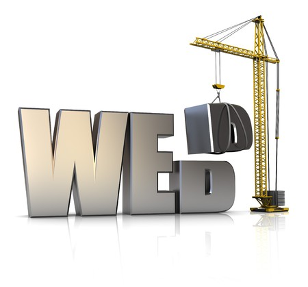 worldwide web: 3d illustration of crane building text web over white background Stock Photo