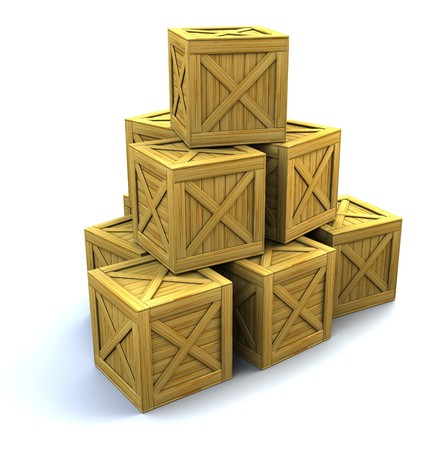 3d illustration of wooden crates heap over white background