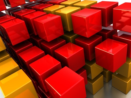 abstract 3d illustration of red and orange cubes background illustration