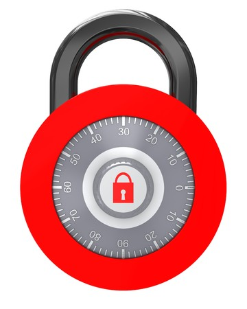3d illustration of rounded combination lock isolated over white illustration
