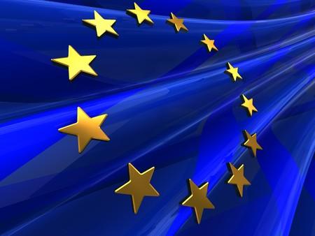 national identity: astratta 3d illustrazione della bandiera europea sfondo Archivio Fotografico