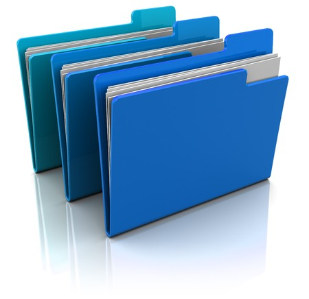 3d illustration of three blue folders with paper over white background