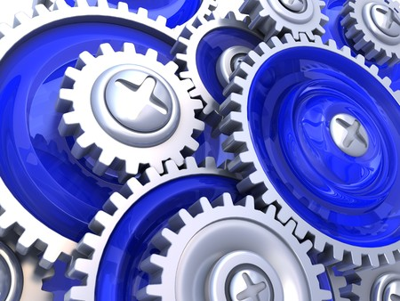 abstract 3d illustration of gear wheels background, blue colors Stock Illustration - 7507325