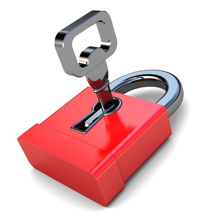 3d illustration of small red lock with key, over white background Stock Illustration - 7507273