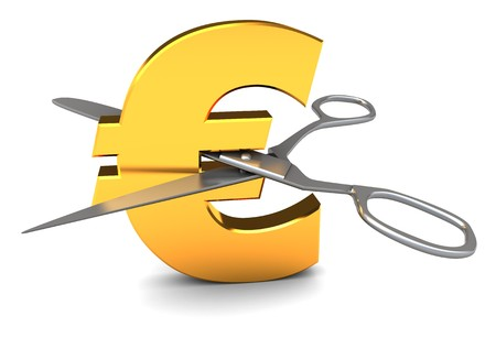 3d illustration of euro sign and scissors, discount concept