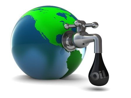 exploitation: abstract 3d illustration of earth globe with oil faucet