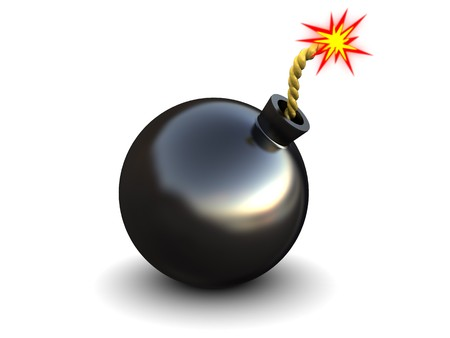 abstract 3d illustration of bomb with fire, over white background