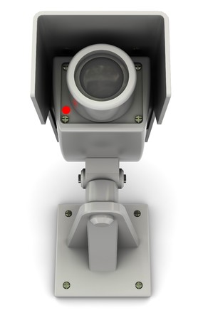 paranoia: 3d illustration of security camera with red lamp, over white background Stock Photo