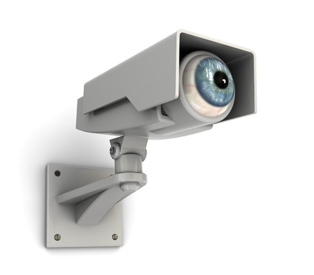 private security: abstract 3d illustration of security camera with human eye
