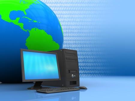 3d illustration of computer and earth globe, internet metaphor Stock Illustration - 7550621