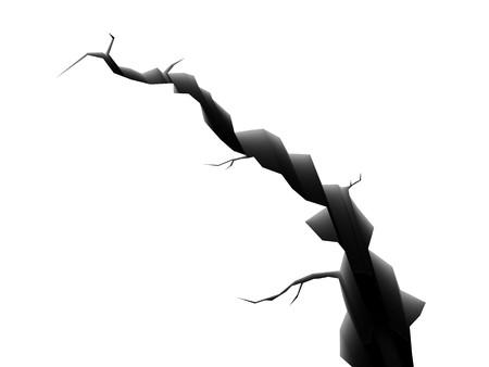 fissure: illustration 3D de fissure isol� sur fond blanc