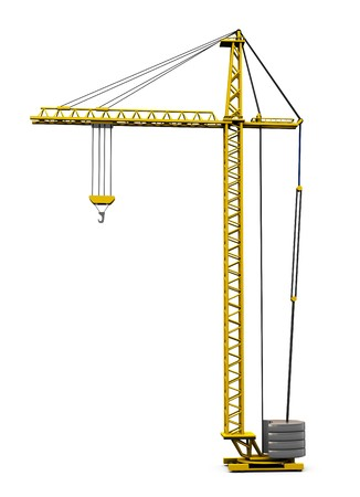 tonnage: 3d illustration of generic building crane isolated over white background