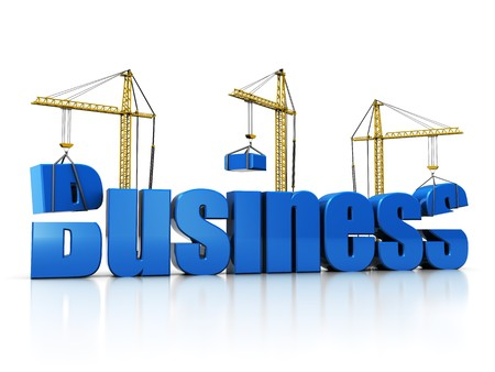 business metaphor: 3d illustration of cranes building text business over white background