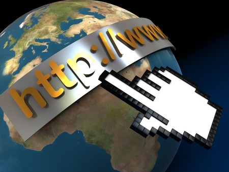 abstract 3d illustration of earth globe and internet address sign, over black background illustration