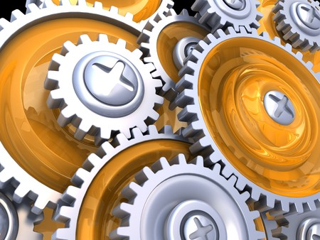 abstract 3d illustration of gear wheels illustration