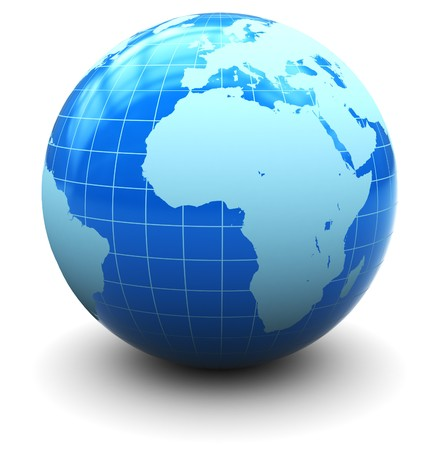 globe grid: 3d illustration of earth globe over white background