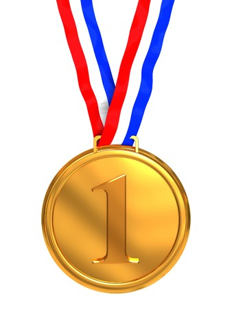 gold record: 3d illustration of golden medal with number one sign