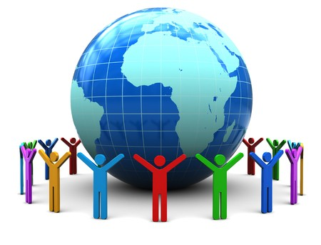 hands holding earth: abstract 3d illustration of colorful people around earth globe Stock Photo