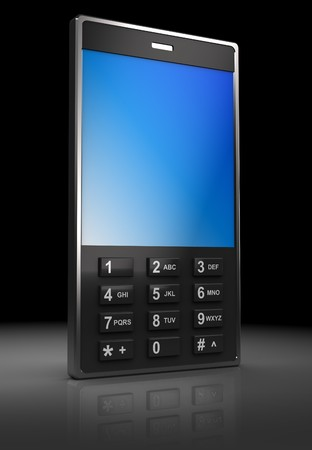 3d illustration of mobile phone over dark background Stock Illustration - 7550567